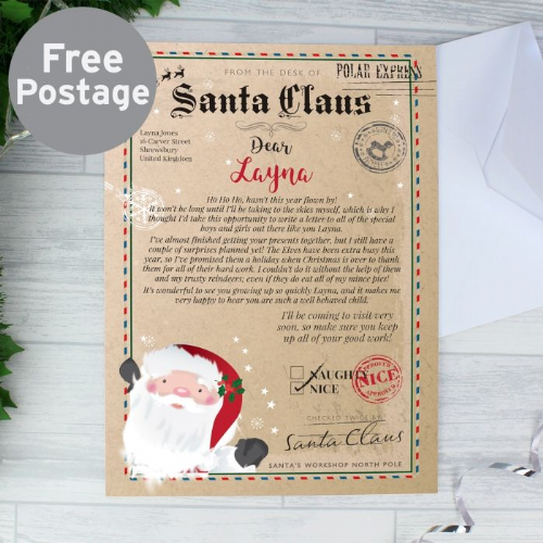 Personalised Letter From Santa Gift For Children - Letter from Father Christmas Free Postage